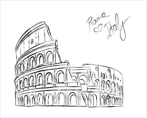 Fototapete - Vector sketch of The Coliseum or Flavian Amphitheatre, Rome, Italy.