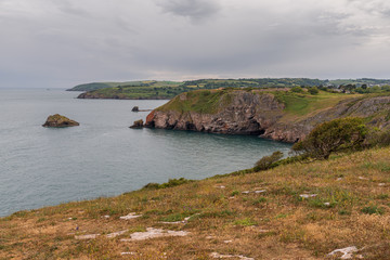 View over the English Channel from the Berry Head National Nature Reserve near Brixham, Torbay, England, UK
