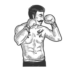 Vintage boxer fighter with mustache sketch engraving vector illustration. T-shirt apparel print design. Scratch board imitation. Black and white hand drawn image.