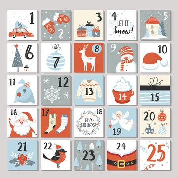Advent calendar, Christmas poster, holiday season cute cards, Scandinavian style, vector illustration