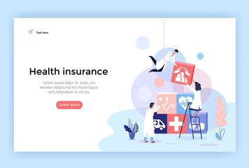 Health insurance concept illustrations, healthcare and medical services banner, perfect for web design, banner, mobile app, landing page, vector flat design Wall mural