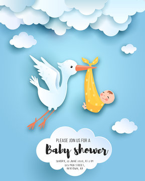 Baby shower card with cute stork in sky with baby, vector paper art.