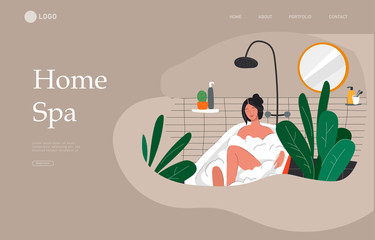 Landing page template with Girl relaxes in bath with foam and sleeping cat. Daily life and everyday routine scene by young woman in scandinavian style cozy bathroom. Cartoon vector