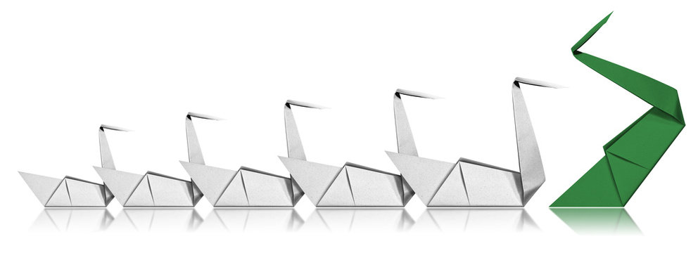Leadership Concept - Paper Swans isolated on white background
