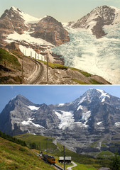 A combination picture shows the Eiger, Guggi and Giesen Glaciers photographed near the Jungfrau between 1890 and 1900 and in 2019