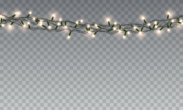 Lights bulbs isolated on transparent background. Glowing yellow Christmas garlands string. Vector New Year party decorations.