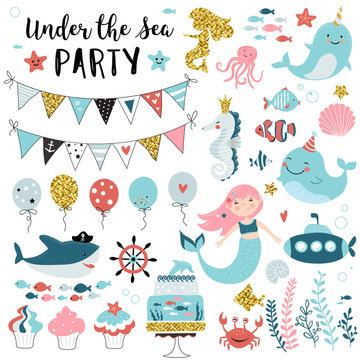 Under the sea party elements for greeting, birthday, invitation, baby shower card. Set of mermaid, whale, shark, fish, jellyfish ,balloons, flags, cupcakes and other. Vector illustration.