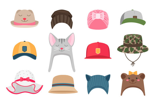 Kids hats illustrations. Hat set for children, winter and summer, with animals for girls and for boy scouts isolated on white background