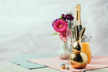 Mimosa cocktails with Easter decoration