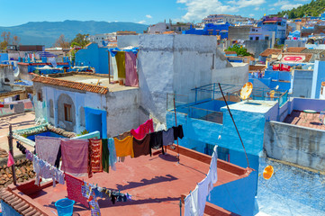 Garden Poster Morocco Roofs of the blue city of Chefchaouen in Morocco
