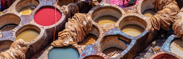 Wall Mural - Aerial view of the colorful leather tanneries of Fez, Morocco
