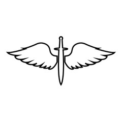 Wings and sword symbol cadets Winged blade weapon medieval age Warrior insignia Blazon bravery concept icon outline black color vector illustration flat style image