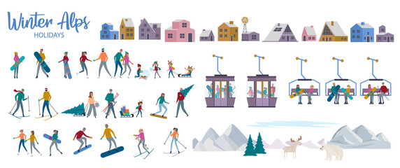 Winter Alps holiday collection. Set of active People ice skating, skiing, snowboarding, sledding, winter houses, mountain. Editable vector illustration