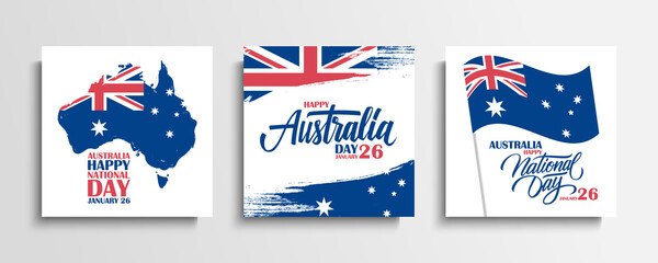 Australia Day, january 26 greeting cards set with hand lettering, brush strokes, waving australian national flag and map of Australia. Vector Illustration. Fotomurales