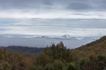 view of the top of the snowy mountain curavacas