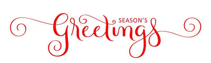 SEASON'S GREETINGS red vector brush calligraphy banner with spirals