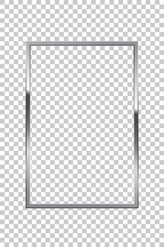 Shiny sparkling silver rectangle on transparent background vector illustration