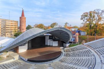 Amfiteatr w Opolu, Polska, 19 październik 2019.  W tym miejscu odbywają się co roku festiwale piosenki polskiej