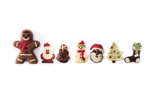 Christmas chocolate bonbons isolated on white background