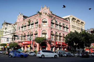 Picture shows a general view of a colonial building located at the corner of Pansodan road and Maha Bandula road in Yangon
