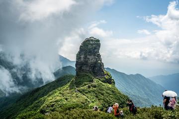 Fanjingshan new gold summit scenery and valley view Fanjing mountain in Guizhou China