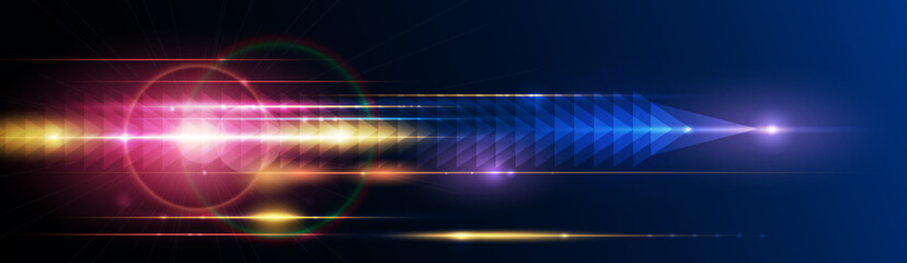 Illustration of light ray, stripe line with blue light, speed motion background. Vector design abstract, science, futuristic, energy, modern digital technology concept for wallpaper, banner background Fotomurales