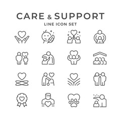 Set line icons of care and support