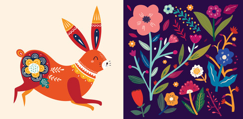 Fototapete - Set of floral spring cards. Card with cute bunny