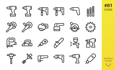 Power tools icons set. Set of cordless screwdriver, circular saw, electric planer, power drill, impact wrench driver, electric airbrush spray gun, angle grinder outline icons