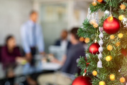 Christmas tree in business office