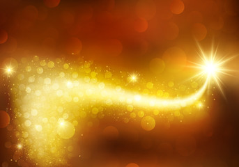 Magic gold celebration background. Festive sparkle shiny decoration with bokeh effects. Defocused, blurred lights. Wall mural