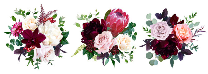 Luxury fall flowers vector bouquets.