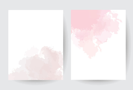 Dusty pink and taupe watercolor vector splash cards.