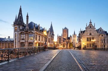 Belgium historic city Ghent at sunset