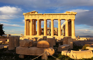 Parthenon temple on day. Acropolis in Athens, Greece