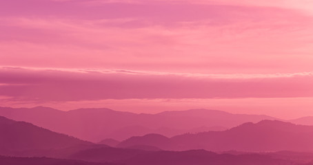 Photo sur Aluminium Rose banbon Beautiful landscape mountain range and purple sky at the sunset, twilight period which including of sunrise