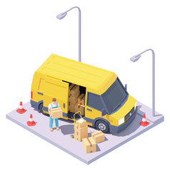 Vector isometric courier with parcels and delivery van. Express mail courier delivery services. Yellow commercial van, worker holding cardboard box in hands