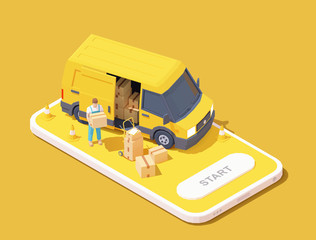 Vector parcel and mail delivery service and tracking app illustration, Smartphone with yellow delivery truck, express delivery courier holding cardboard box
