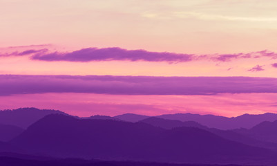 Acrylic Prints Candy pink Beautiful landscape mountain range and purple sky at the sunset, twilight period which including of sunrise