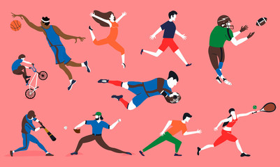 Sports set. Vector characters in different kinds of sports. Vector illustration on white background in cartoon style