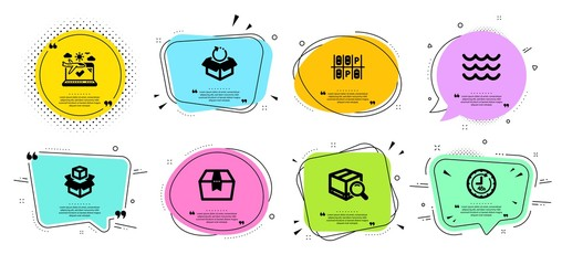 48 Hours Search Package And Package Box Line Icons Set Chat