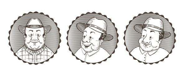 Set of images of farmers. Portraits of old men in hats. Vector illustration.