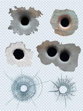 Bullet circle hole. Crashed guns bullet marks damaged surface vector realistic template. Illustration glass crash, broken hole from gun or weapon