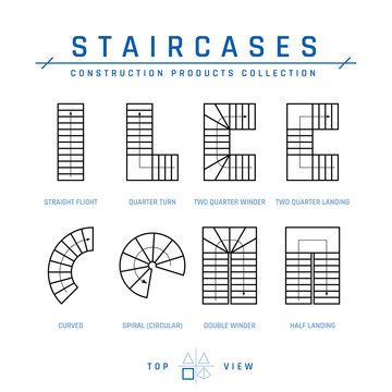 Staircases, top view, vector in outline style