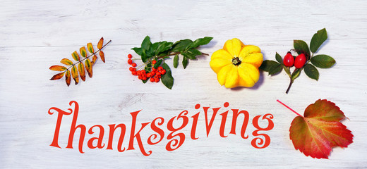 Thanksgiving frame with pumpkin, leaves and berries, banner, Header, Headline, Panorama