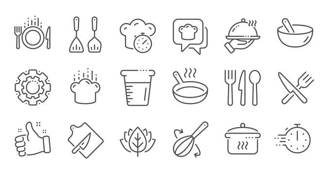 Cooking line icons. Boiling time, Frying pan and Kitchen utensils. Fork, spoon and knife line icons. Recipe book, chef hat and cutting board. Linear set. Quality line set. Vector