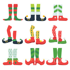 Elf feet. Christmas fairytale character colorful stylish boots santa shoes and leggings vector cartoon set. Elf shoes, feet and legs striped illustration