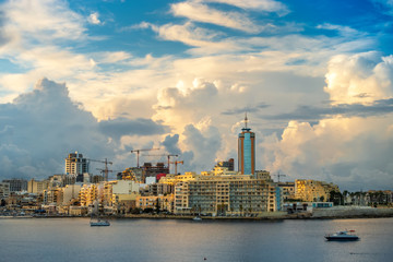 beautiful day view of harbor at St. Julians to Sliema, Spinola Bay, Malta