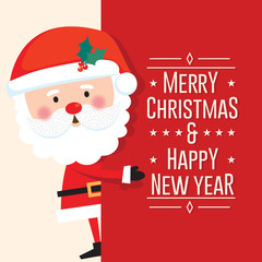 Cute Santa Clause with Merry Christmas and happy new year letter on red background