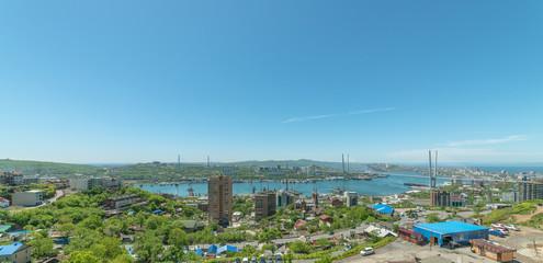 Wall Mural - Vladivostok cityscape daylight view. Panorama.